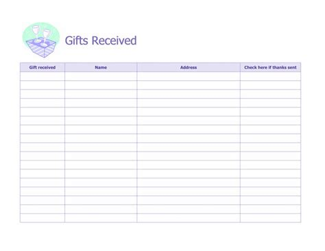 printable christmas card record book record of gifts received microsoft office template