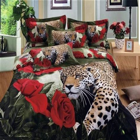 red leopard comforter set new luxury animal print bedding set queen size 3d flower
