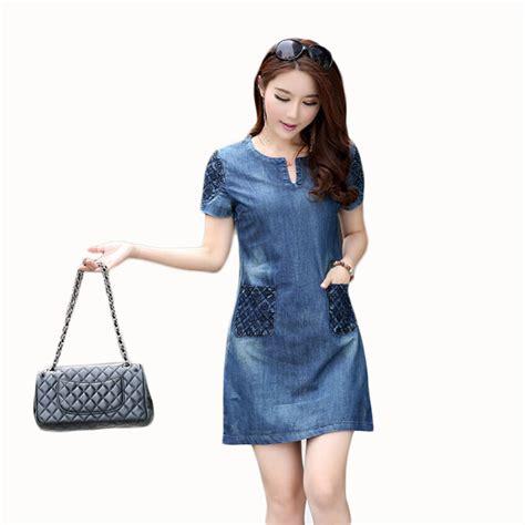 Fashion Wanita Pakaian Dress Denim free shipping 2016 new summer denim dress sale fashion jean dress slim