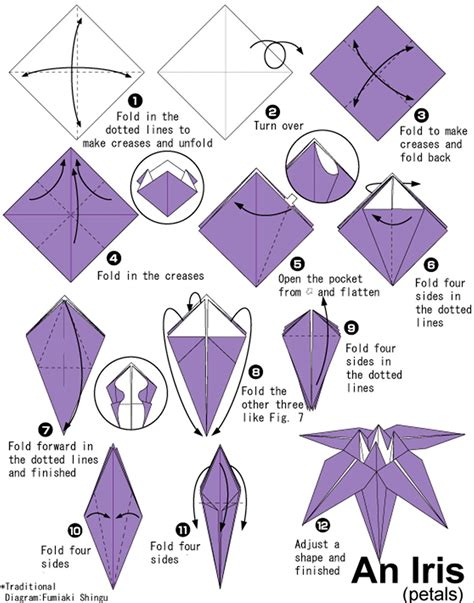 Origami Directions - with origami florissa flowers roses fruits veggies