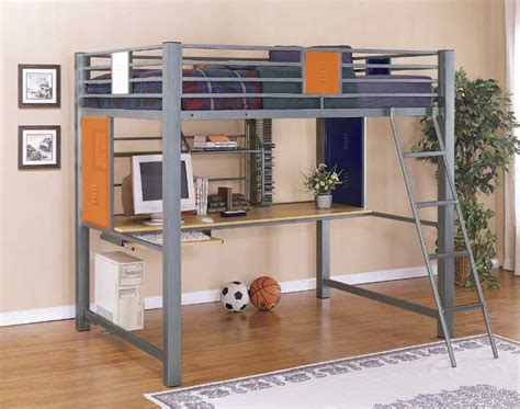 teen loft bed full size loft bunk bed with built in study desk in primary colors