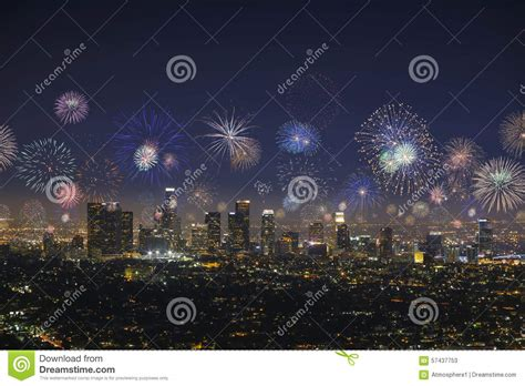 new years in los angeles downtown los angeles cityscape with exploding fireworks