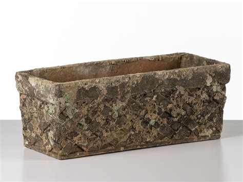 aged ceramic trough planter moss green clay