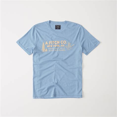 Abercrombie Fitch Mens Logo Graphic abercrombie fitch logo graphic in blue for lyst