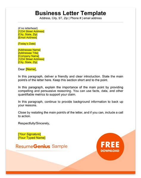 Sle Business Letter Format 75 Free Letter Templates Rg Heads Up Email Template