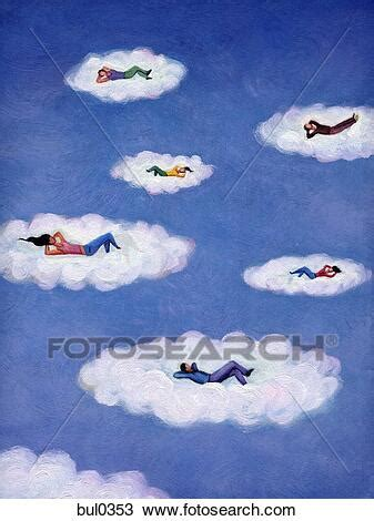 people lying   relaxing  floating clouds drawing