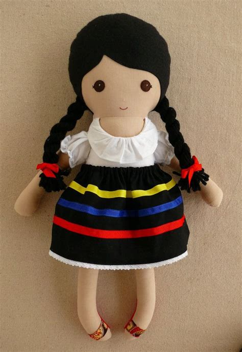 mexican rag doll reserved for fabric doll rag doll black haired