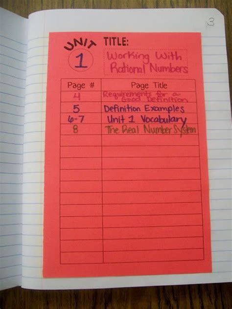 math interactive notebook templates best 25 table of contents template ideas on