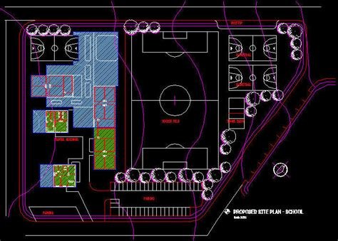 Cad Building Template Primary School Site Layout Autocad Site Plan Template