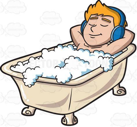 bathtub cartoon a man listening to music in a tub cartoon clipart vector