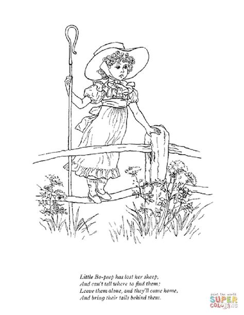 Little Bo Peep has lost her sheep coloring page | Free