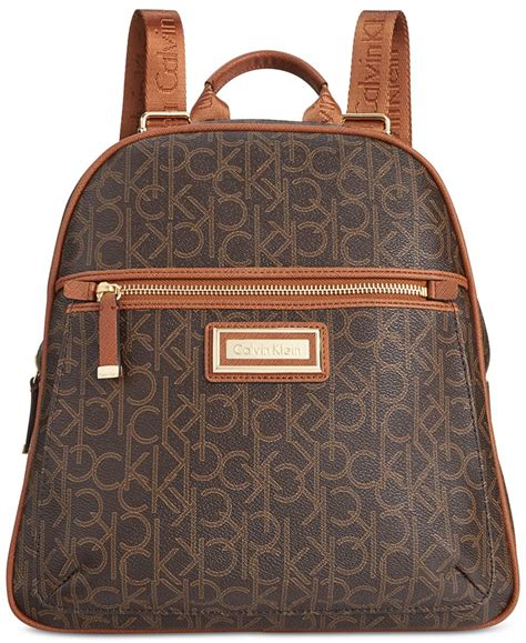 Backpack In Signature 38301 Brown calvin klein signature backpack in brown lyst