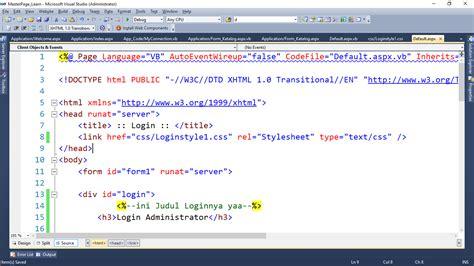 tutorial asp net login tutorial login sederhana menggunakan asp net dan sql
