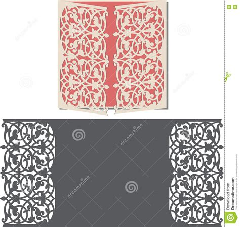 Laser Cut Envelope Template For Invitation Wedding Card Stock Vector Image 71364303 Laser Cut Wedding Invitations Templates