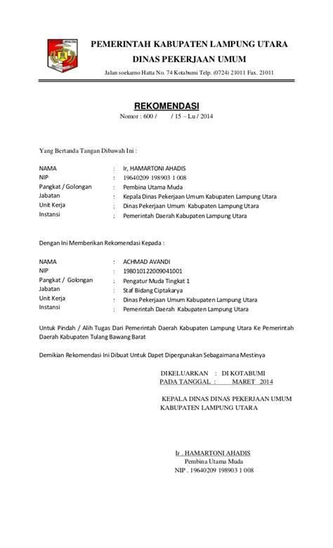 Contoh Surat Mutasi Kerja by Pdf Ok Avandi Surat Mutasi Pns Ke Instansi Kab