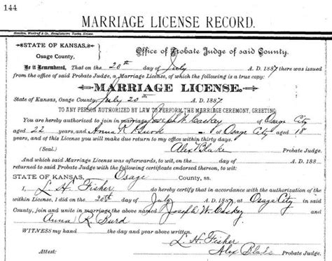 El Paso County Marriage License Records Joseph Whitfield Caskey And Rhoda Burd