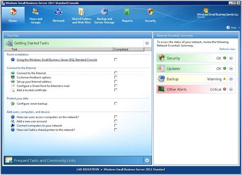 windows sbs console access tools management in windows sbs 2011
