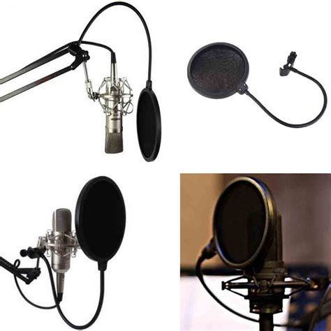 Microphone Hello 2 Mic With Stand Mainan Musik Anak pop filter mikrofon dual layer windscreen black jakartanotebook