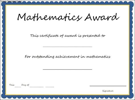 math certificate template mathematics award certificate template sle templates