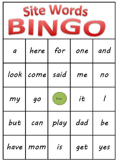 Preschool Bingo Card Template by Kindergarten Sight Word Bingo Printable