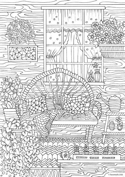 Country Spring – Comfy Porch   Garden Coloring Pages