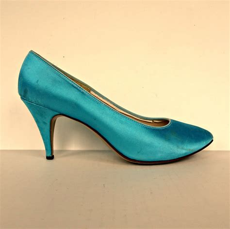 Shiny Funky And A License To Wed by Vintage 80s Funky Turquoise Shiny Satin Stiletto Heel
