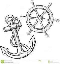 ships wheel and anchor drawing stock photos image 22406283