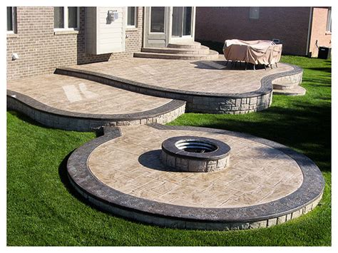 sted concrete patios multi level patio with firepit