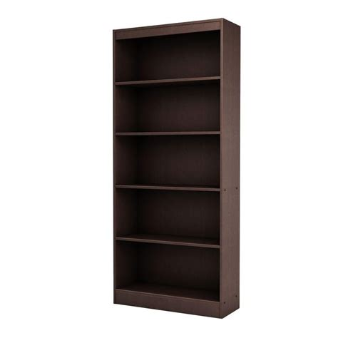 south shore freeport 5 shelf bookcase chocolate the home