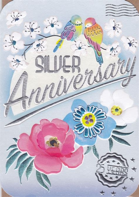 birds flowers silver anniversary card karenza paperie