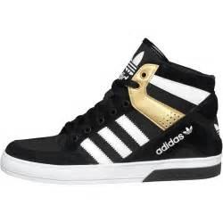 adidas originals womens court block hi tops black white metallic gold http www