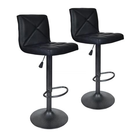 Leather Bar Stool Chairs by Black 2 Pu Leather Modern Adjustable Swivel Barstools