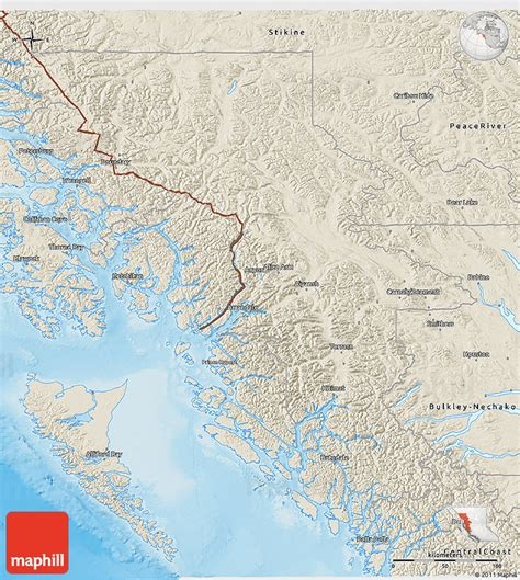 map of kitimat bc canada shaded relief 3d map of kitimat stikine