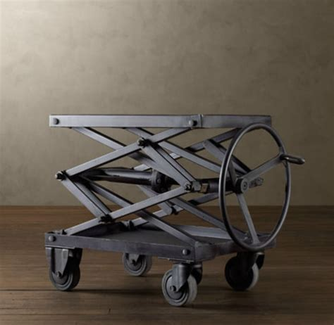 industrial retro adjustable height metal scissor lift