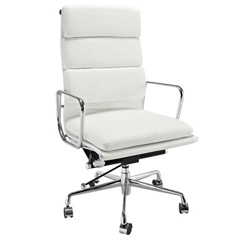 high back white leather executive office chair