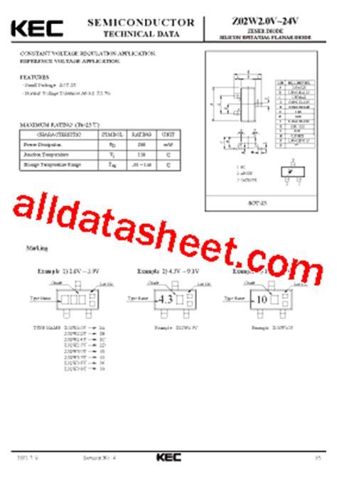 5v zener diode part number z02w7 5v datasheet pdf kec korea electronics