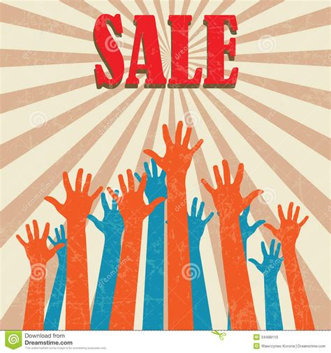 2 Color Sale Retro Promotion Brand Business - vintage sale poster stock photo image 34498110