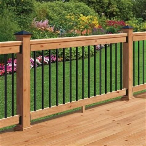 home depot deck design pre planner deckorail 6 ft western red cedar railing kit with black