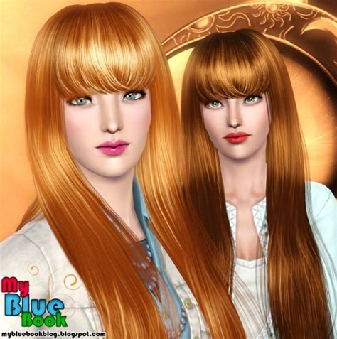 long hair with bangs sims2 shiny bangs hairstyle peggy s 5007 retextured by tumtum