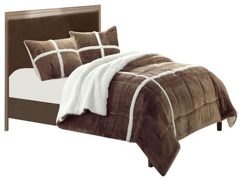microsuede king comforter chic home chloe plush microsuede sherpa lined brown king 7