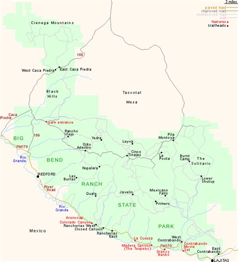 big bend national park texas map map of big bend ranch state park texas