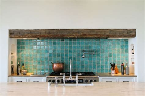 Turquoise Tile Backsplash With Rustic Beam Bathroom Turquoise Backsplash Tile