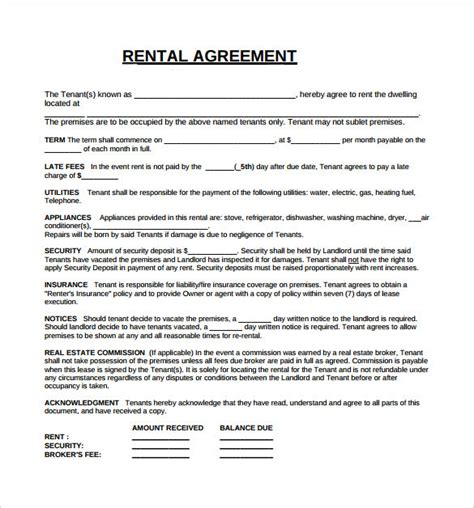 rental lease agreement 8 free sles exles format