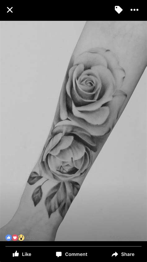 rose tattoo realistic realistic black and grey ink