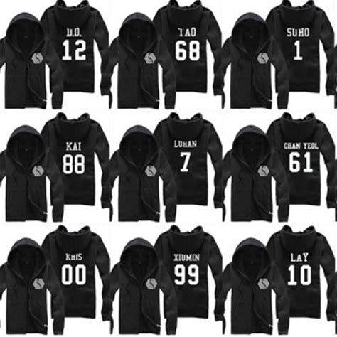 Sweater Exo Kpop Chen With Signature Custom kpop exo overdose each member personal name and logo fashion cotton zipper sweater hoodies