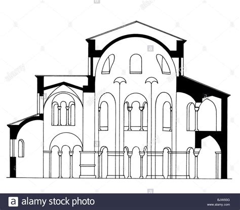 church section architecture ground plan cross section of a romanesque