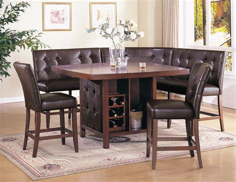 acme britney  pc counter height dining table set  brown