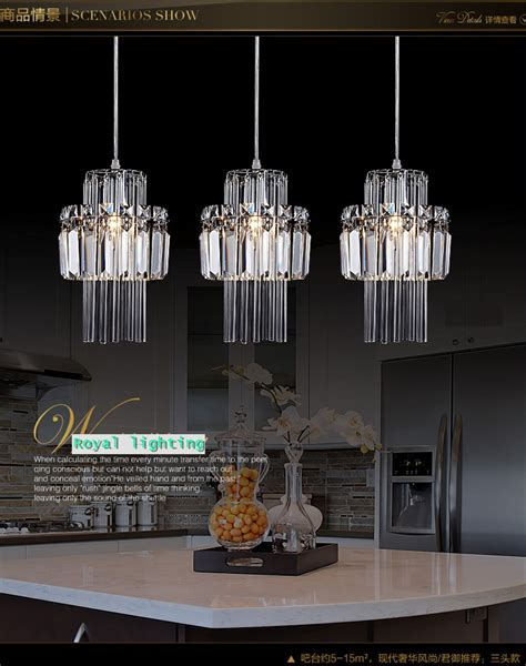 hanging lights over kitchen bar aliexpress com buy dining room pendant crystal l 3