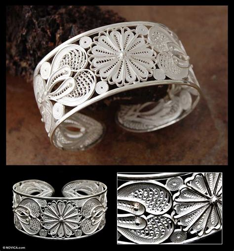 Belleza De Bali Earrings silver floral filigree bracelet from peru sunflower