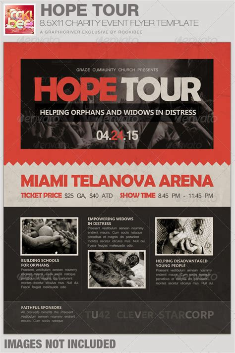 Hope Tour Charity Event Flyer Template By Rockibee Graphicriver Charity Event Flyer Templates Free